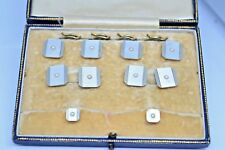 Vintage set of 9ct and 18ct gold cufflinks, studs, collar studs and original box