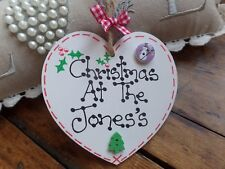 Personalised Christmas At The Family Name Heart Tree Decoration Plaque Sign Gift