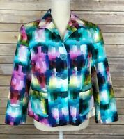Lafayette 148 NY Size 10 Multi Color Abstract Watercolor L/S Button Front Jacket