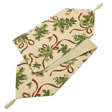 """Christmas Holly Table Runner, Cream, 14x90"""" With Tassels, Just Contempo"""