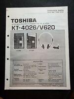 Original Toshiba Stereo Radio Cassette Player KT-4026/V620 Manual Sewrvice Data