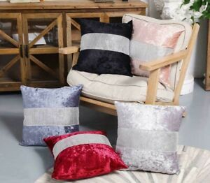 """Crushed Velvet Cushion Cover Diamante Sparkle Bling 18x""""x18"""" 45x45cm Or Buy Pad"""