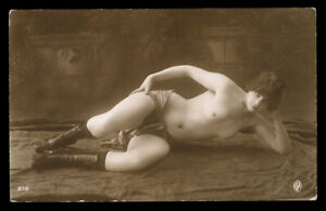 Vintage French RPPC Real Photo Postcard 1920s Pretty Flapper Topless Model Sepia