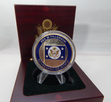 SECRETARY OF STATE REX W. TILLERSON CHALLENGE COIN- SET IN SOLID WOOD BOX