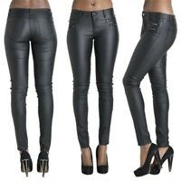 New Women Genuine Leather Pants High Waist Sexy Jeans Style Skin Fit Black