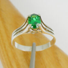 1.0 Carats Oval 7x5mm Green CZ Solitaire Ring Genuine 925 Sterling Silver, R3221