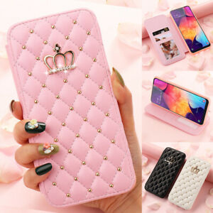 Luxury Wallet Flip Leather Diamond Case For Samsung S21 S20 FE S10 S9 S8 Cover