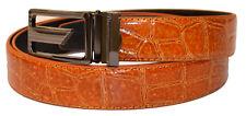 New Mens Gold-Cognac Alligator Print Genuine Leather Classic Nice Fashion Belt
