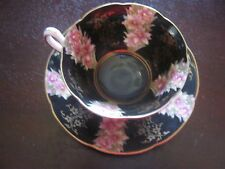 Rosetti Teacup and Saucer - Black Floral