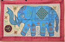 Hand Embroidered Elephant Wall Hanging Indian Rajasthani Art Handmade Tapestry
