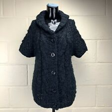 VIVIENNE TAM Size Large Womens Black Nubby Short Sleeve Cardigan Sweater