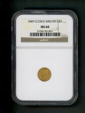 1849 US Gold Dollar Closed Wreath $1.00 $1 NGC MS 60 Original surface First Year