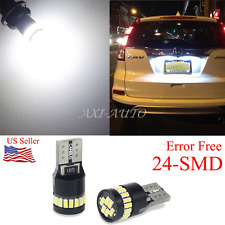 2x 6000k White LED T10 194 158 168 912 24-SMD Map Dome License Plate Light Bulbs