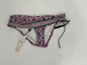 Nanette Lepore Womens Bikini Bottom M Mallorca Mosaic Banded Hipster Emerald
