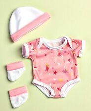 "3 Pc Pink Layette Clothing For La Newborn Real Life 13"" Doll Girl Baby Toy Gift"