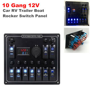 10 Gang RV Marine Boat Yacht Rocker Switch Panel Circuit Breaker LED Voltmeter