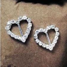 50pcs Buckles Ribbon Sliders Diamante Table Wedding Decoration Heart Rhinestone