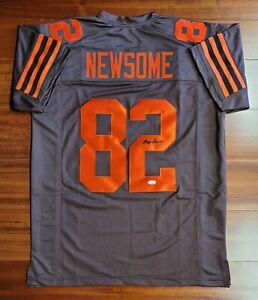 Framed Autographed//Signed Ozzie Newsome HOF 99 33x42 Cleveland White Football Jersey JSA COA