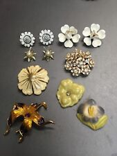 Lot Of  Vtg 40's-50's Clip on Earrings Soft Plastic Flower Clusters Pins Brooch