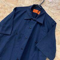 Red Kap Workwear Work Short Sleeve Shirt Navy Blue Plain USA Size Small S
