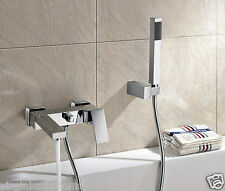 BRAYTON CUBE WALL MOUNTED MODERN BRASS CHROME BATH SHOWER MIXER BATHROOM TAP