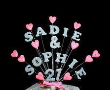 Double name, (twin), age cross christening cake topper