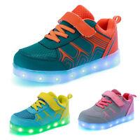 Mädchen Jungen Kinder LED Leuchtende Schuhe USB Sneakers Klettband Farbwechsel