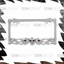 High Quality Chrome Skull And Flame License Plate Frame For US License Plate