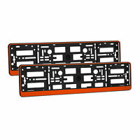 2 x Universal Number Plate Holders Surrounds Frames Any Car - Orange Effect