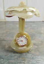 "Stone onyx marble  quartz clock with umbrella  new 4 "" ×6"""