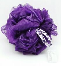 1 Bath & Body Works Purple Shower Sponge Loofah Pouf Soft Striped Strap Gift New