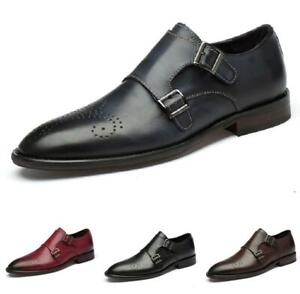Mens Leisure Business Leather Shoes Pointy Toe Buckle Brogue Work Office Party