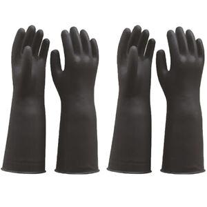 2 Pair Latex Gloves Gauntlets Black 60cm Long Sleeve Industrial Rubber Glove