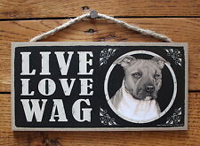 """Pitbull Sign Live Love Wag Dog Wood Plaque 5""""x10""""  Made In USA"""