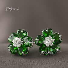 18K WHITE GOLD GF MADE WITH SWAROVSKI CRYSTAL LADIES GIRLS FLOWER STUD EARRINGS