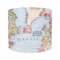 Lampshade World Map Atlas Blue Earth Nautical Fabric Geography Lightshade Boys