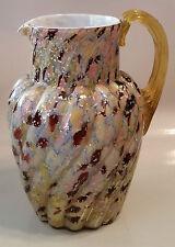 """ANTIQUE HARRACH CASED & SPANGELD GLASS PITCHER - 9"""""""
