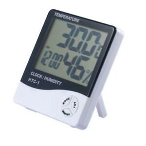 LCD Thermometer Hygrometer Alarm-Clock Temperature Humidity Meter White Durable