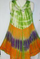 Womens Dress Mumu Green Orange Tie Dye Print  Free Size Fits Size L XL