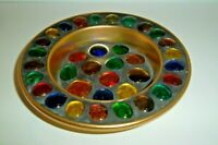Vintage Jewel Encrusted Trinket Jewelry Coin Tray Bowl Holder Brass Metal Round