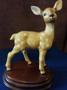 Fallow Deer Fawn Standing Watching Detailed Cute Ornament Figurine