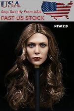 US Stock 1/6 Elizabeth Olsen Scarlet Witch Long Curl Hair Female Headsculpt Toy