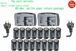 16 x Camera Rechargeable Battery CR123a RCR123a 16340 3.7v 650mAh+2xDual Charger