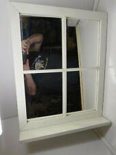 VTG Wood Framed Window Four Pane Mirror with Shelf SHABBY SHEEK WHITE 24 x 18.5