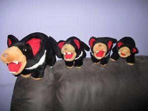 1 ADULT and 3 BABY Tasmanian Devils soft plush toys,bulk lot