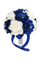 "9"" Wedding Bouquet: Royal Blue & White Artificial Open Roses with Rhinestones"