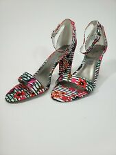 Cute Worthington Floral Heel Sandals With Ankle Strap Size 9
