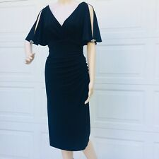 Ralph Lauren 4 S Small  Black Embellished Stretch Jersey Sheath Dress Ruched NEW