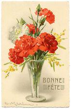 ILLUSTRATEUR. C. KLEIN. JOLI VASE AVEC OEILLETS ET MIMOSAS.  FLEURS  FLOWERS.
