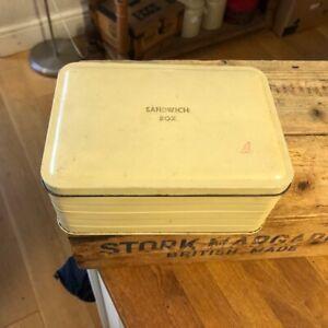 Vintage Cream Painted Metal Sandwich Box / Lunch Tin – Picnic Hamper? –